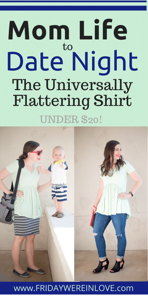 the mom life to date night perfect universally flattering shirt- this babydoll peplum tunic is under $20 too!