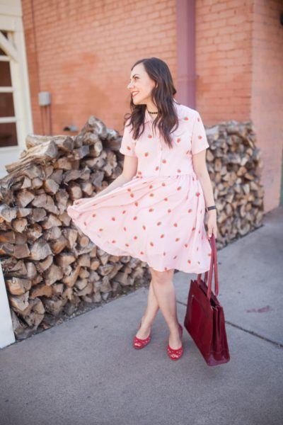 The All-The-Things Printed Shirtdress on the Cheap