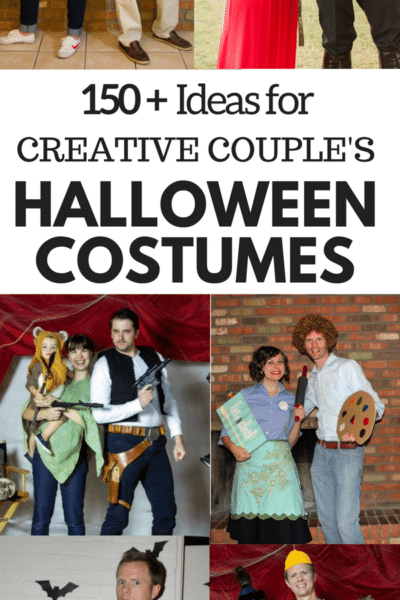150 plus creative couple's Halloween Costume Ideas, with several that include easy family Halloween Costumes to add a themed family Halloween costume with a baby or young children