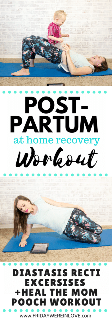 Postpartum workout program from home: diastasis recti exercises plus heal the mom pooch workout! Plus it's an easy at-home workout!