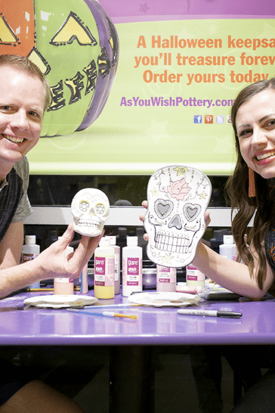 Paint your own pottery studio date night: Paint sugar skull pottery for the perfect creative date night! idea!