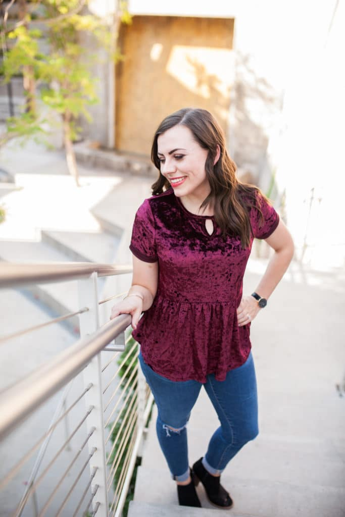 How to style a velvet top: This velvet peplum top is the perfect date night outfit statement piece this fall, and easy to dress up or dress down