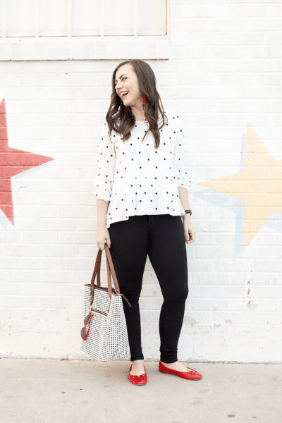 polka dot peplum date night outfit