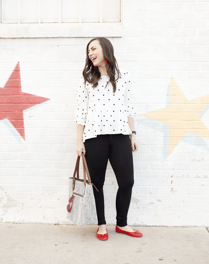 polka dot peplum date night outfit