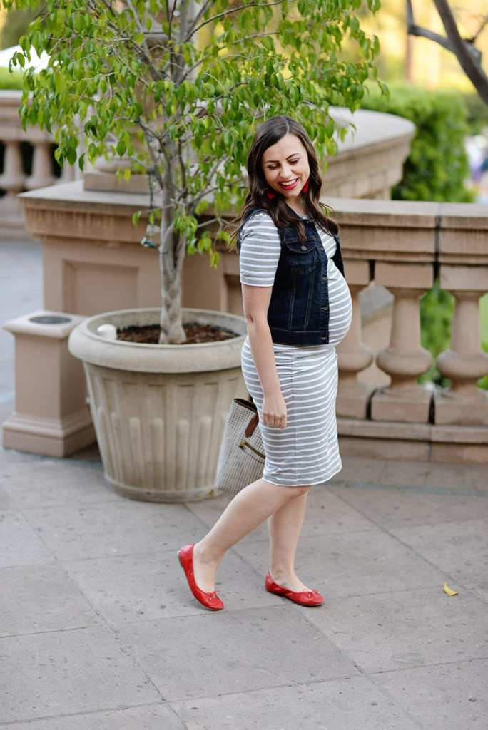 Striped maternity dress look