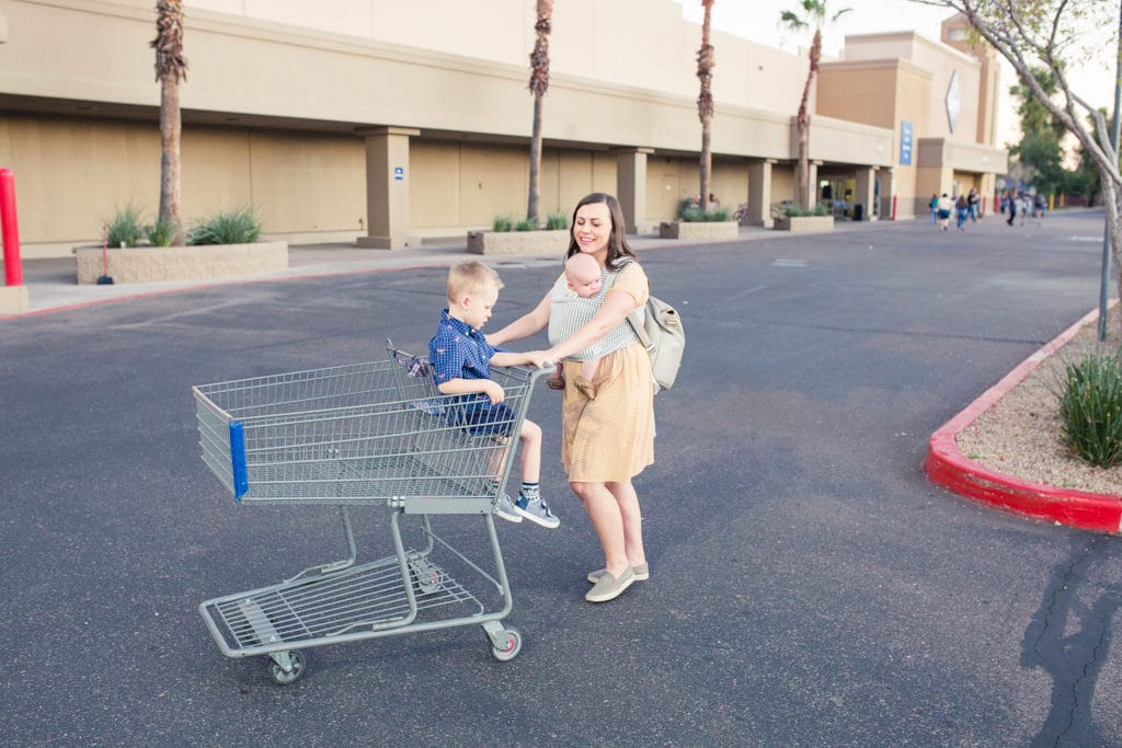 shopping with a baby and a toddler