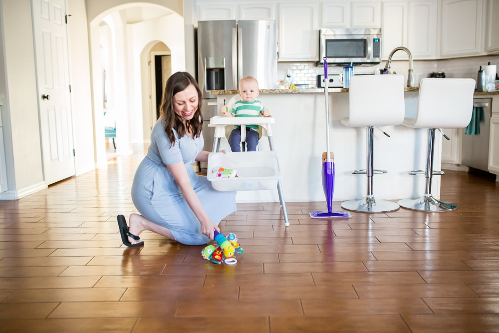 house clean with a mobile baby