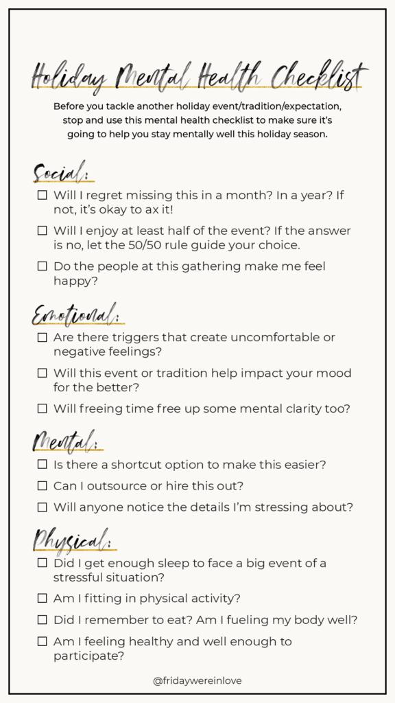 Holiday Stress Mental Health Checklist