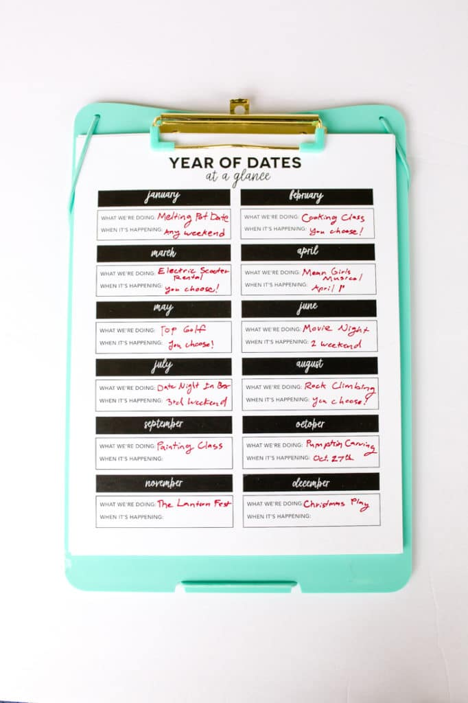 Year of Dates Clipboard Gift