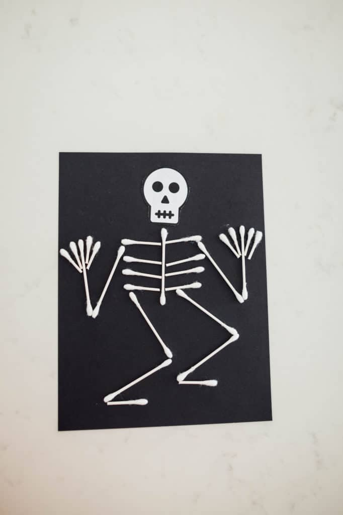 Q-Tip Skeletons Easy Halloween Craft for Kids