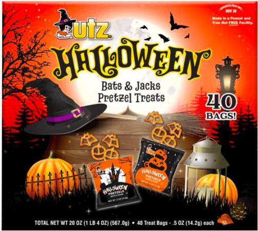 Utz Halloween Pretzel Box, Bat and Pumpkin Shaped Pretzels