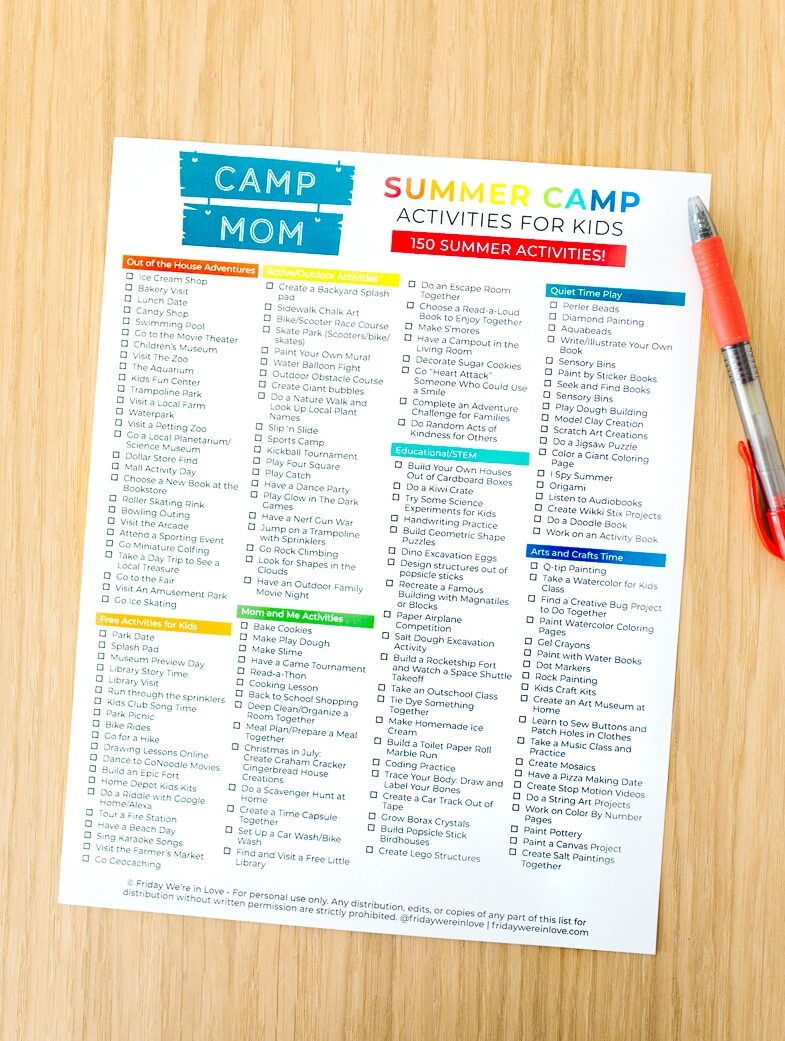 Summer Activities for Kids Free Printable