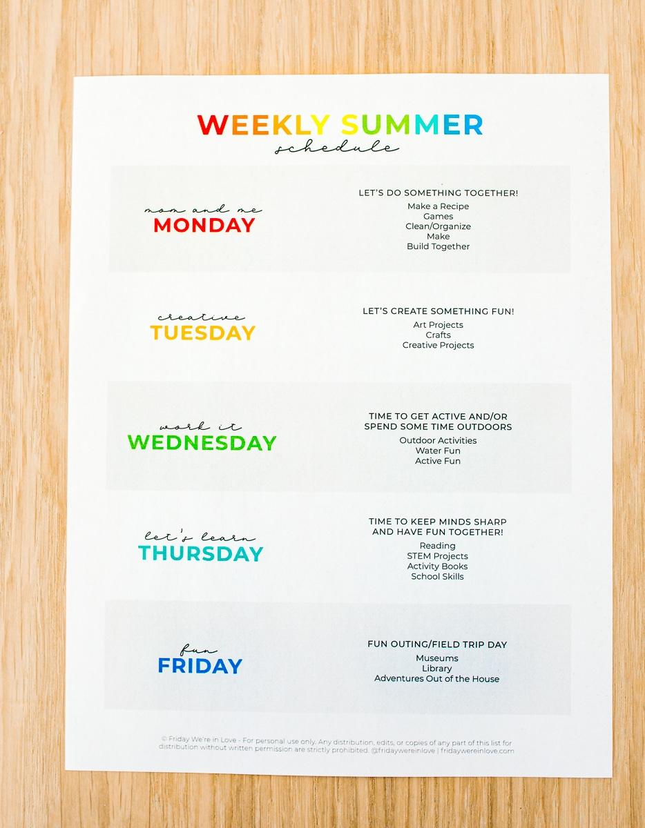 Summer Schedule for Kids-