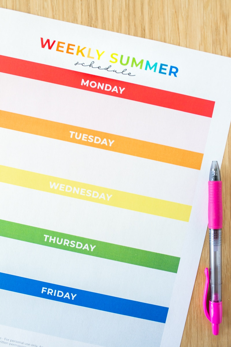 Summer Schedule for Kids Free Printable