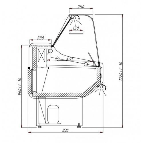 Igloo Rota 100: 1m Slimline Delicatessen Serve Over Display