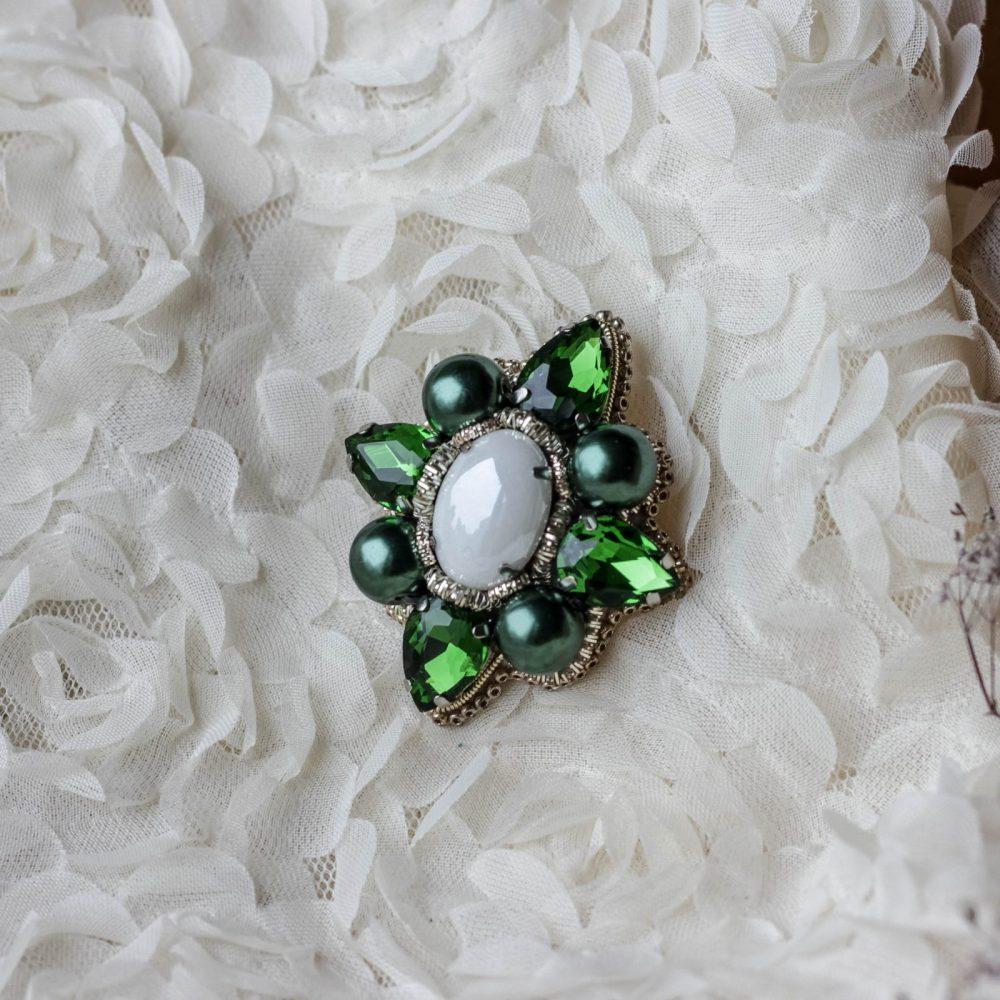 брошь классика жемчуг стразы вышивка сваросвски брошка украшения винтаж винтажная