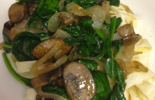 Fettucini with Mushrooms, Spinach, and Caramelized Onions Recipe