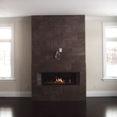 The Marquis linear contemporary fireplace by friendlyfires.ca ads a modern and clean face element to any room.
