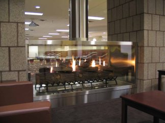 This custom see-thru stainless steel fireplace from Stelar is an amazing work of art, and is one of the most beautiful fireplaces around.