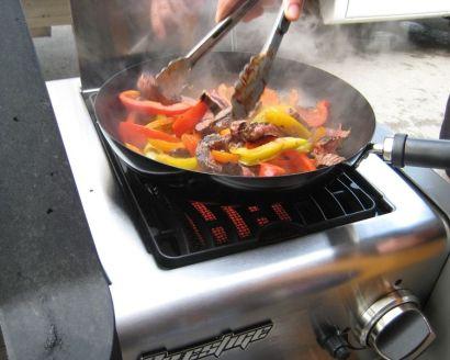 IR sideburner makes quick work of fajita ingredients