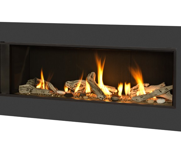 Valor L2 Linear Gas Fireplace Fluted Black Surround