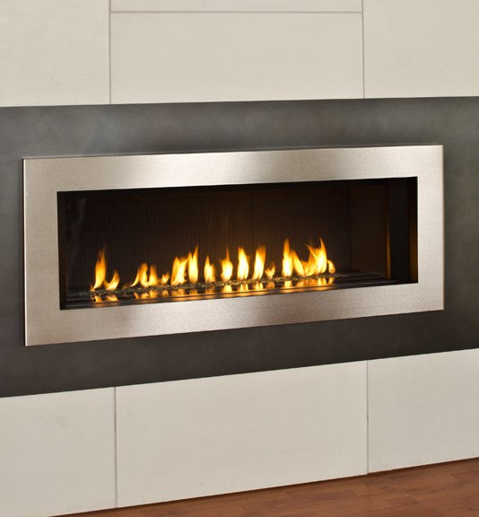 Valor L2 Linear Gas Fireplace Nickel Surround