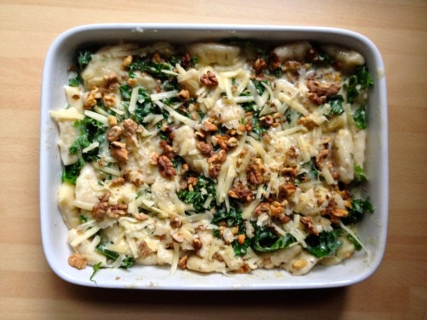 creamy kale and walnut gnocchi recipie