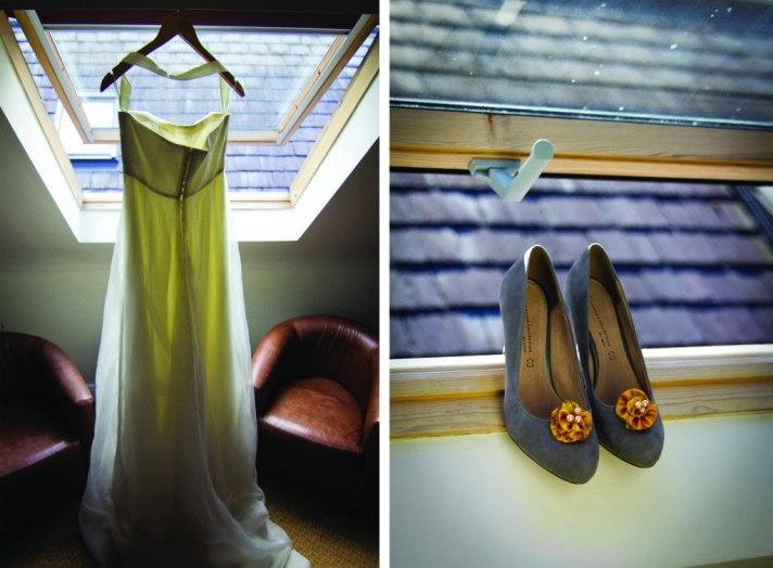 bride's wedding dress + shoes!!