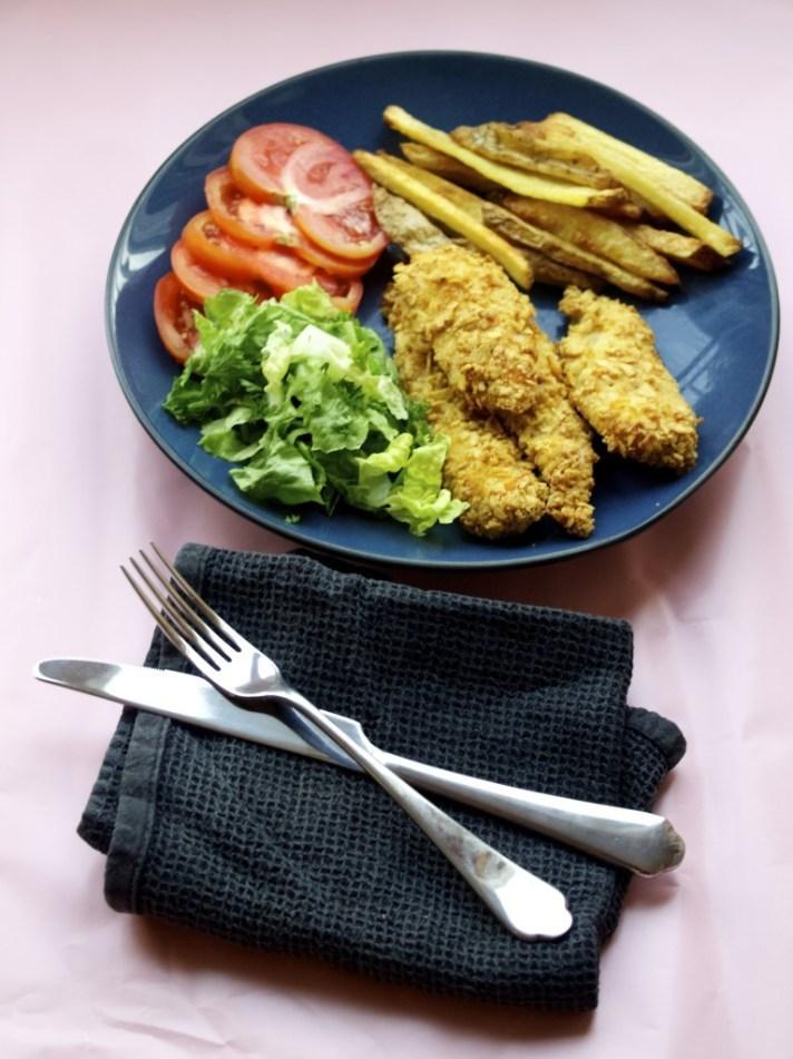 Healthier chicken and chips recipe