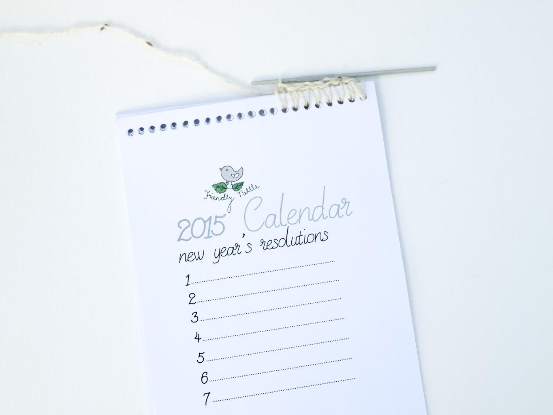 New Year Resolutions Free Printable Calendar