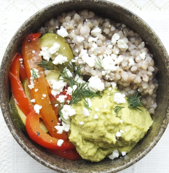 Buckwheat, roasted veg and avocado hummus bowls