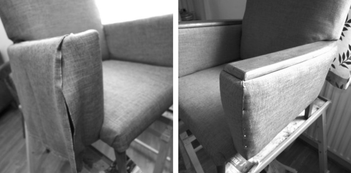 Upholstering the chair arms witht the top fabric