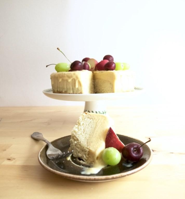 Brown butter peach ice cream cake recipe