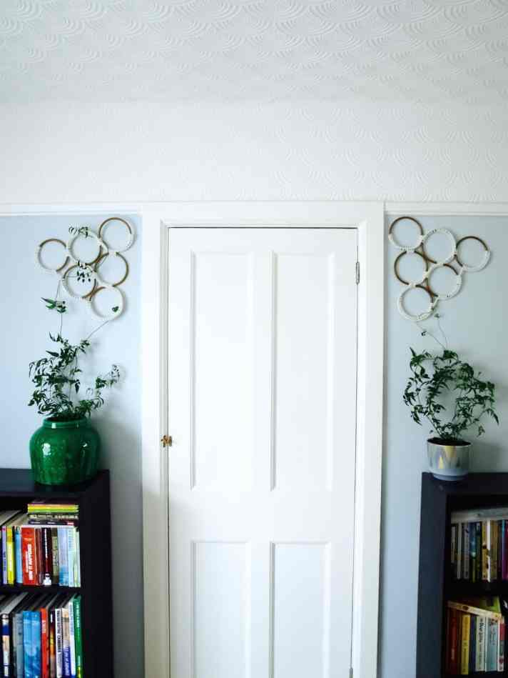 Macrame style indoor trellis diy
