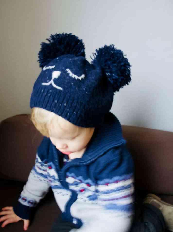 kids bear hat knitting instructions