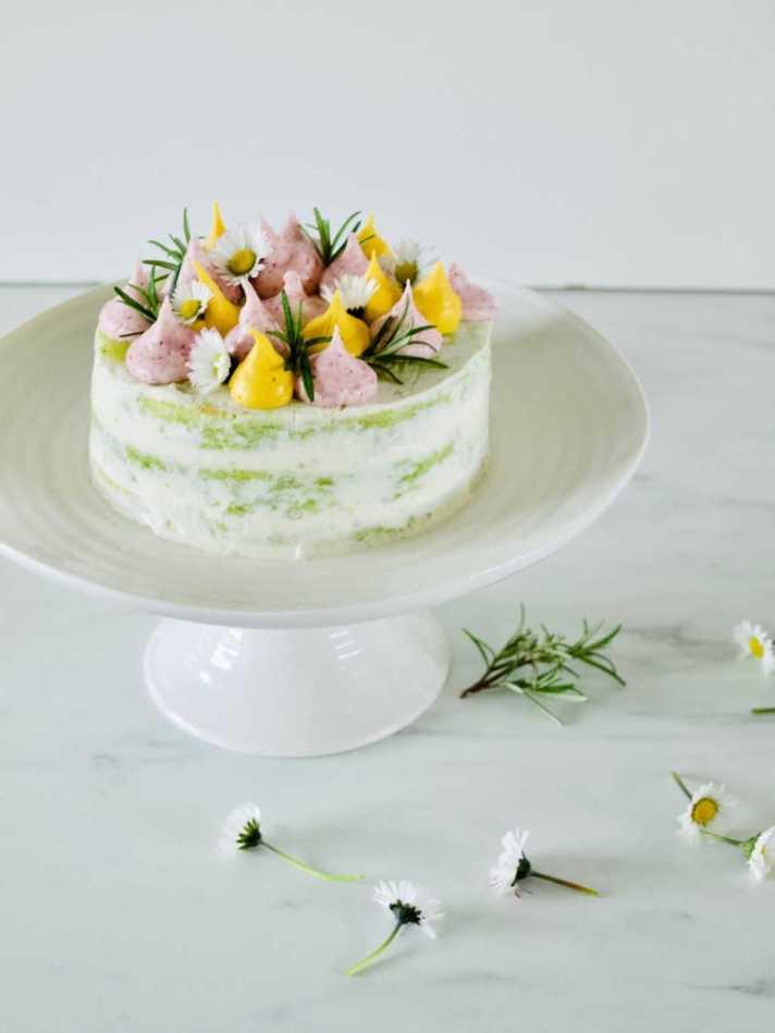 Spring-inspired celebration cake (with sweet peas) recipe