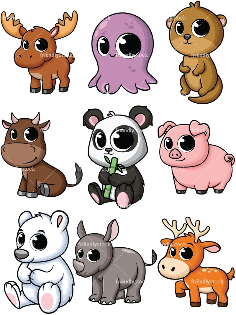 Baby Animals Cartoon Images : animals, cartoon, images, Cartoon, Animals, Clipart, FriendlyStock
