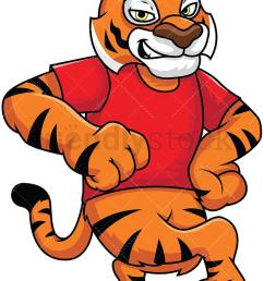 tiger mascot leaning on something vector cartoon clipart [ 800 x 1200 Pixel ]