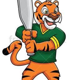 tiger mascot holding a baseball bat vector cartoon clipart [ 800 x 1200 Pixel ]