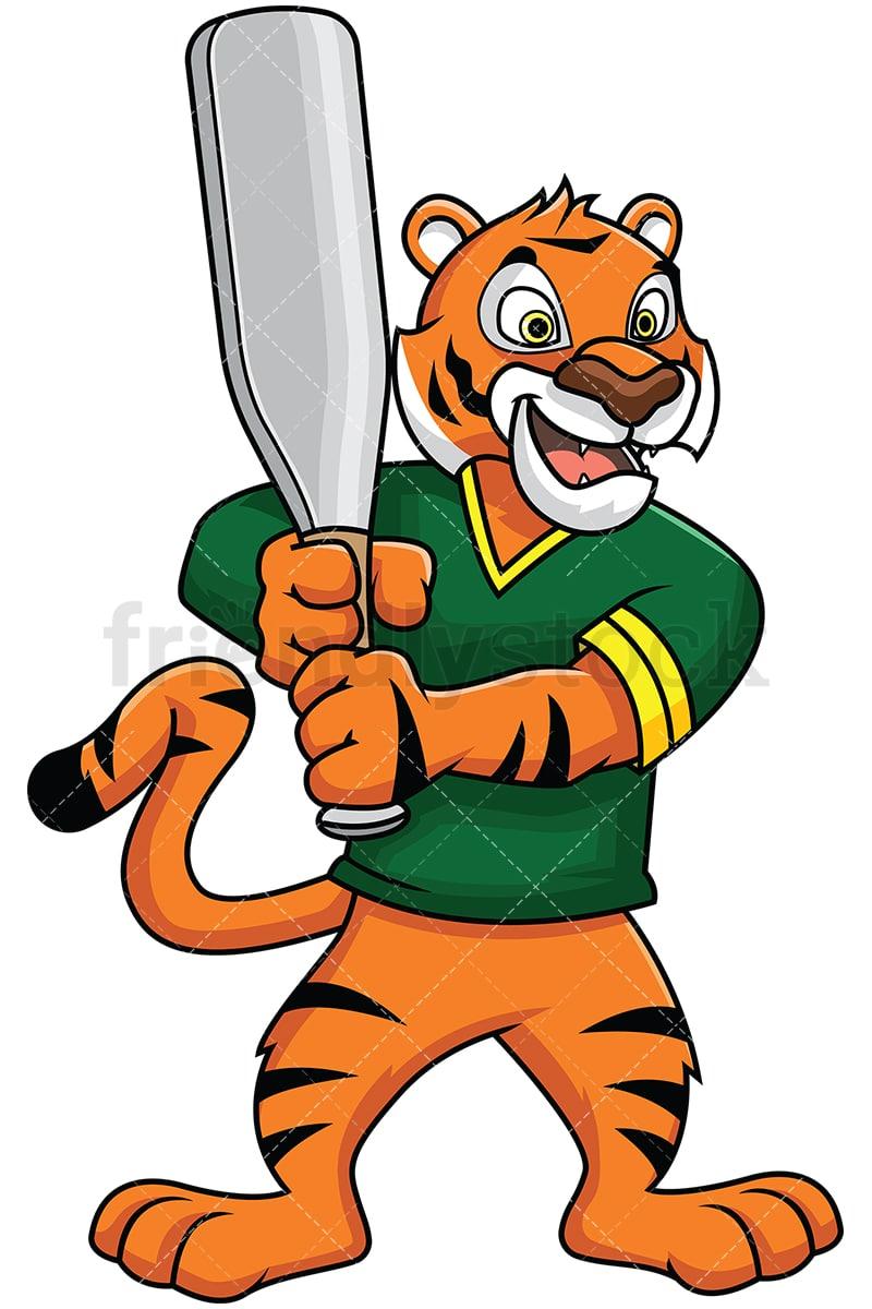 medium resolution of tiger mascot holding a baseball bat vector cartoon clipart