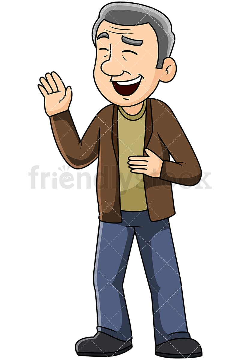 medium resolution of mature man talking and laughing during a conversation vector cartoon clipart