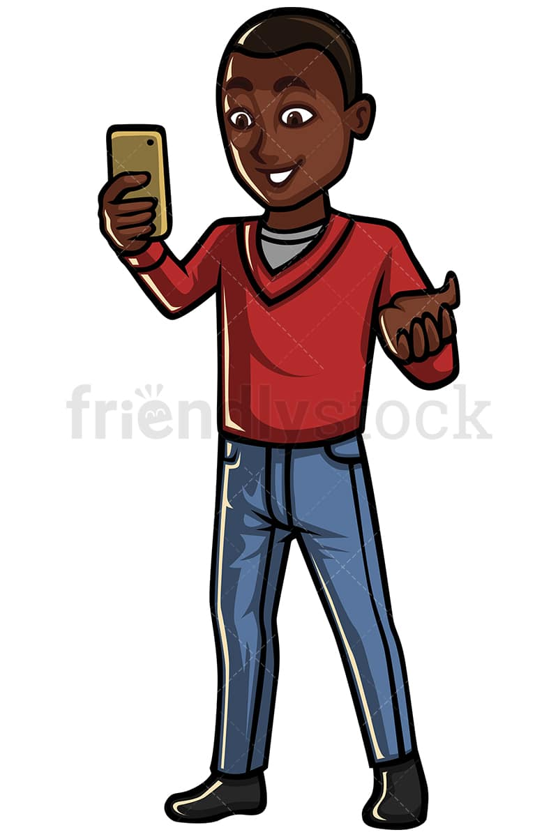 hight resolution of black man video calling someone on his mobile phone vector cartoon clipart