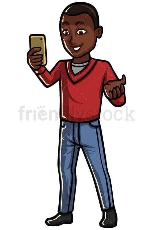 small resolution of black man video calling someone on his mobile phone vector cartoon clipart