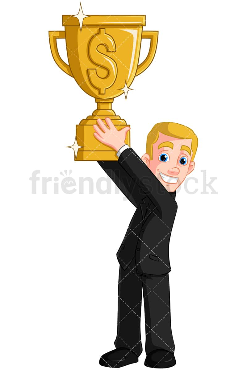 hight resolution of a happy man holding a trophy emblazoned with a dollar sign vector cartoon clipart