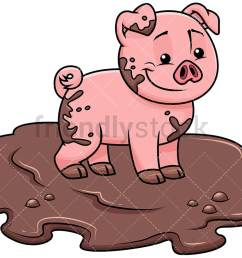 cute pig getting dirty in swamp image isolated on transparent background png [ 1067 x 800 Pixel ]