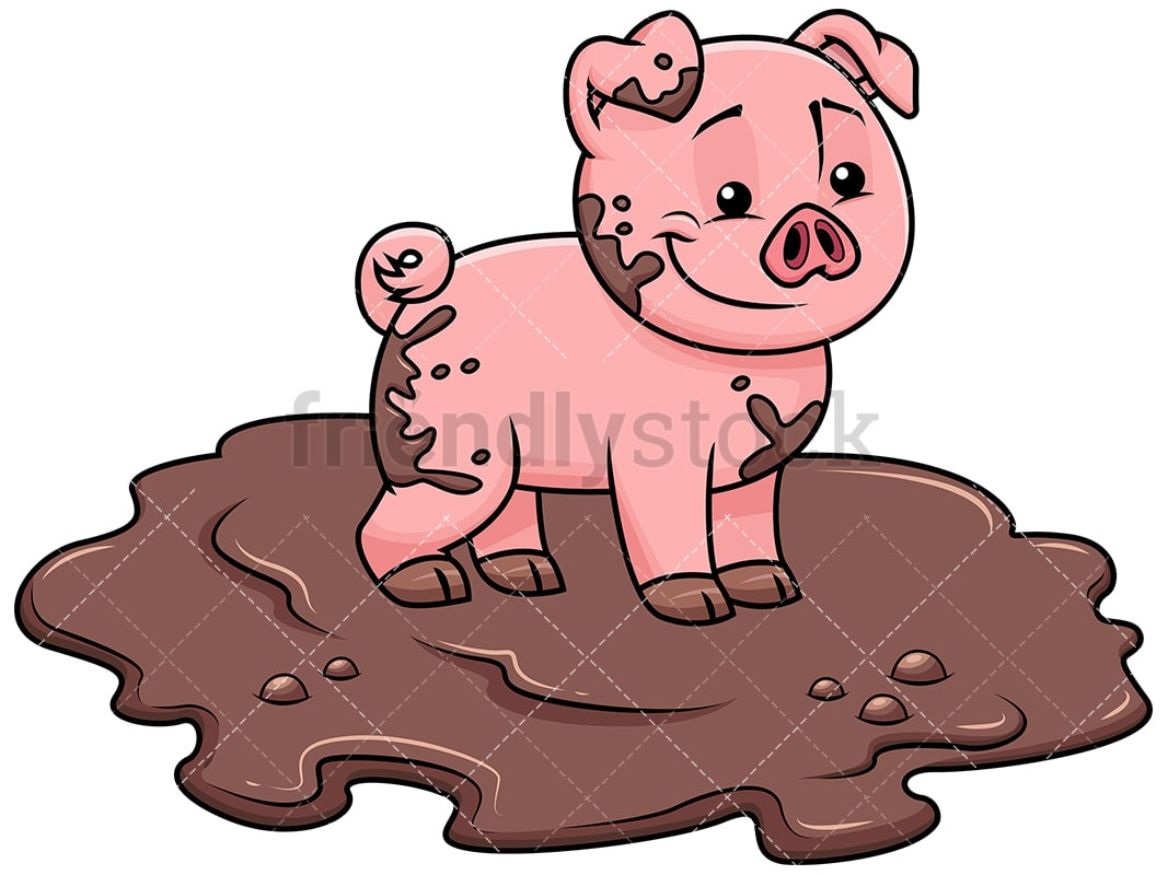 hight resolution of cute pig getting dirty in swamp image isolated on transparent background png