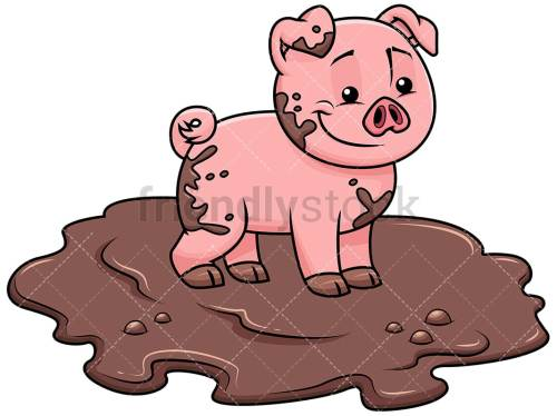 small resolution of cute pig getting dirty in swamp image isolated on transparent background png