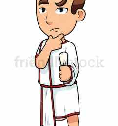 young roman senator thinking vector cartoon clipart [ 800 x 1200 Pixel ]