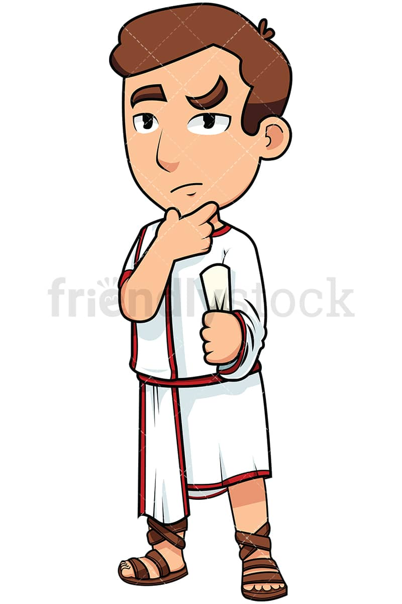 hight resolution of young roman senator thinking vector cartoon clipart