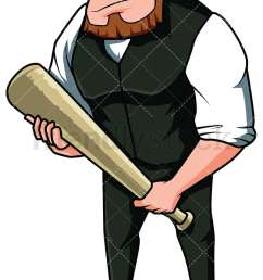 angry mobster holding a bat vector cartoon clipart [ 800 x 1200 Pixel ]